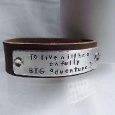 "Lovely Handmade Personalised ""...an awfully BIG adventure"" Leather Cuff Bangle"